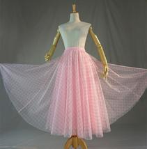 Women Pink Plaid Skirt A Line Long Plaid Skirt Pink Tulle Skirt image 4