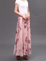 Women Pink FLORAL Chiffon Long Skirt A-line Flower Long Chiffon Skirt Summer  image 11