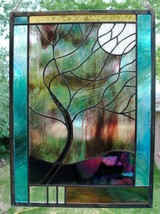 Stained Glass Window Panel Tree Stormy Tree turquoise customizable window - $196.02