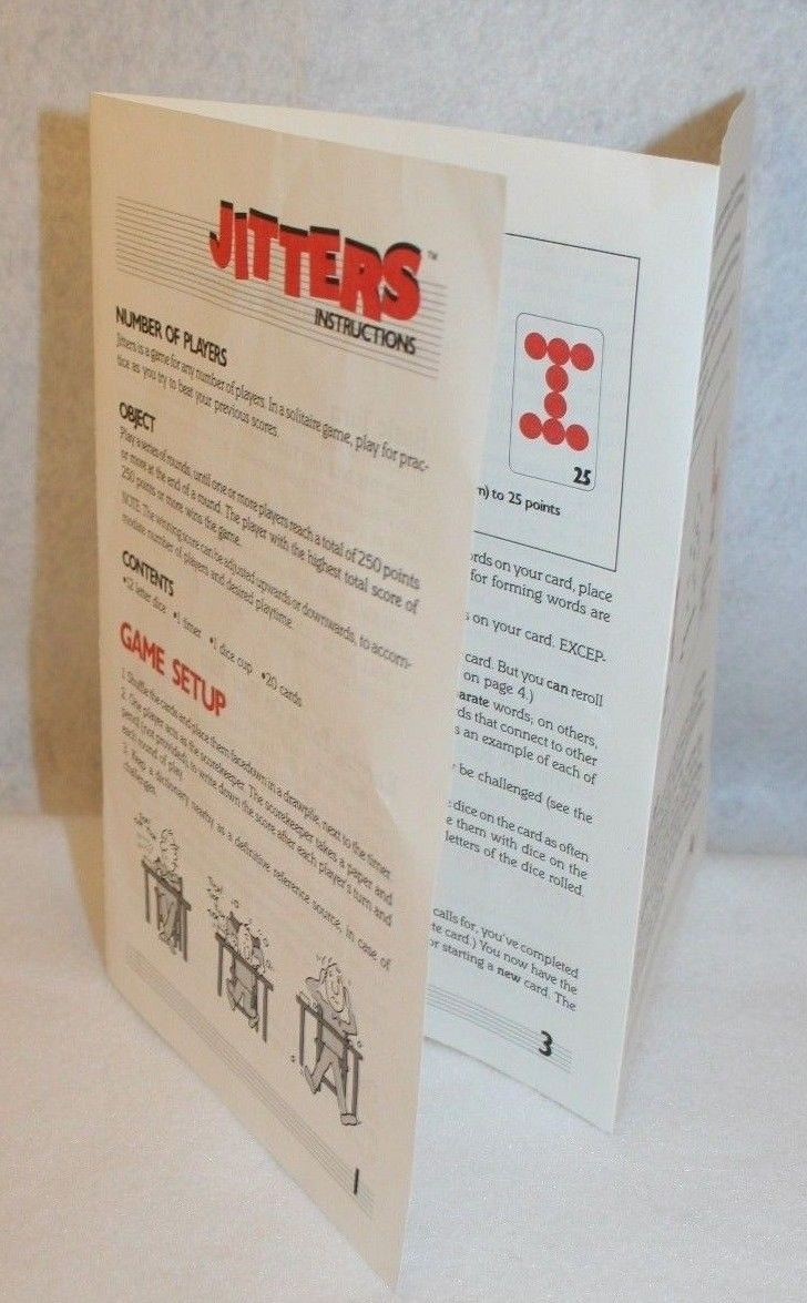 Primary image for Milton Bradley Hasbro Jitters Word Game Replacement Instructions
