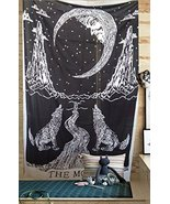 Crying Wolf of The Moon Tapestry wall hanging Bohemian Ethnic Wall Decor... - $9.80
