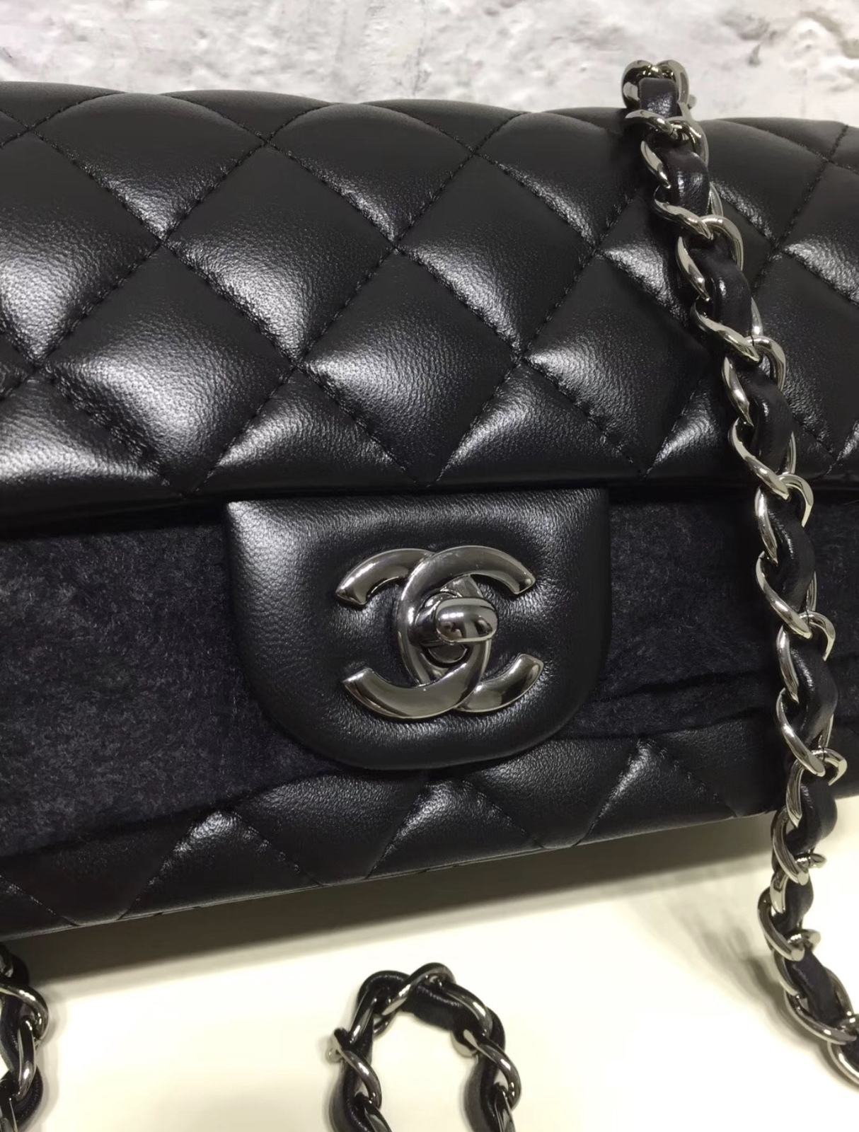 9a914e0e29e4df AUTHENTIC CHANEL SO BLACK LAMBSKIN LARGE MINI RECTANGULAR FLAP BAG BLACK HW  RARE