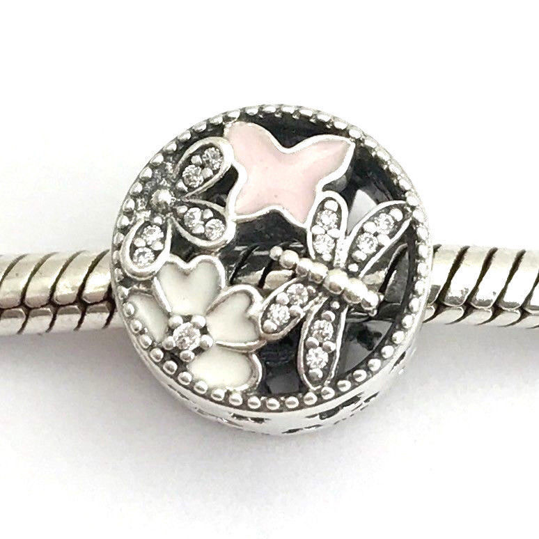 Authentic Pandora Springtime Mixed Enamel & CZ Charm, 791842ENMX, New Retired