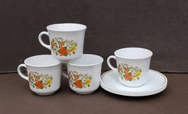 4 (or 8) Corelle Indian Summer Coffee Cups Mugs and Saucers 8 Pieces Mint/NM - $12.00