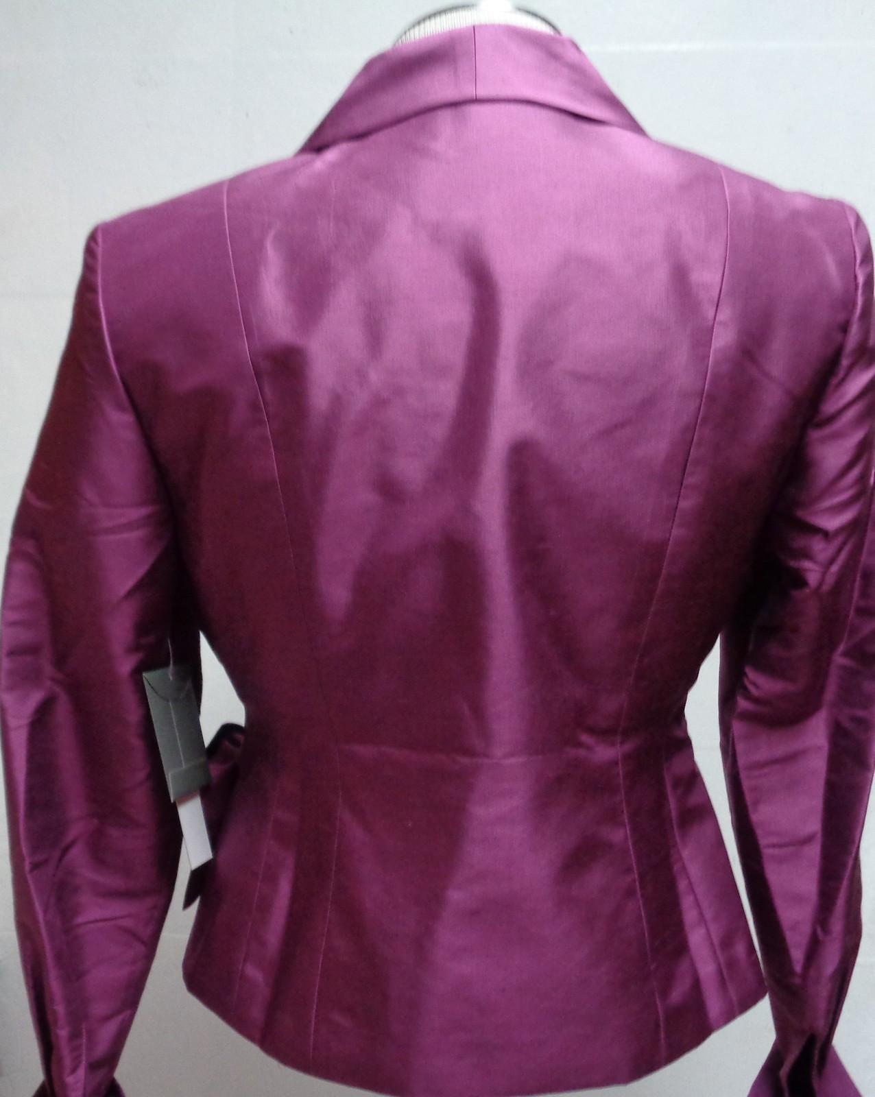 Kate Hill Purple 100% Silk Blouse NWT Sz 2P Wrap Long Sleeves