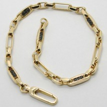 SOLID 18K YELLOW GOLD BRACELET SQUARE TUBE OVAL LINK BLACK ZIRCONIA, ITALY MADE image 1