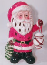 "Large 11"" Holiday Luminary / Tea Light Lamp, Santa Claus Holding Lantern  - $29.99"