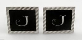 Vintage 1960s SWANK Silvertone & Black Enamel INTIAL J Diamond Cut CUFFL... - $57.74