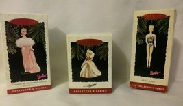Vintage Barbie Holiday Ornaments Lot Of 3 Hallmark Keepsake 1994 & 1996 - $19.34
