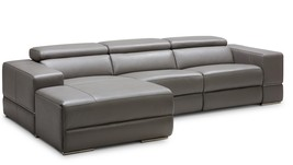 Divani Casa Hilgard Modern Dark Grey Leather Sectional W/ Recliner - $4,048.00