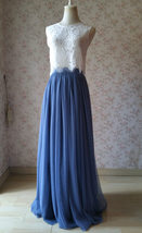 Two Piece Bridesmaid Dress Dusty Blue Tulle Maxi Skirt Crop Lace Top image 2