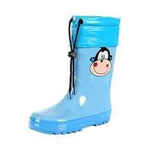 Cute Starry Kids' Rain Boots Blue Monkey Children Rainy Days Shoes 21.7CM