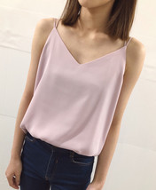 LIGHT PINK V-Neck Sleeveless Chiffon Top Petite Size Pink Wedding Bridesmaid Top