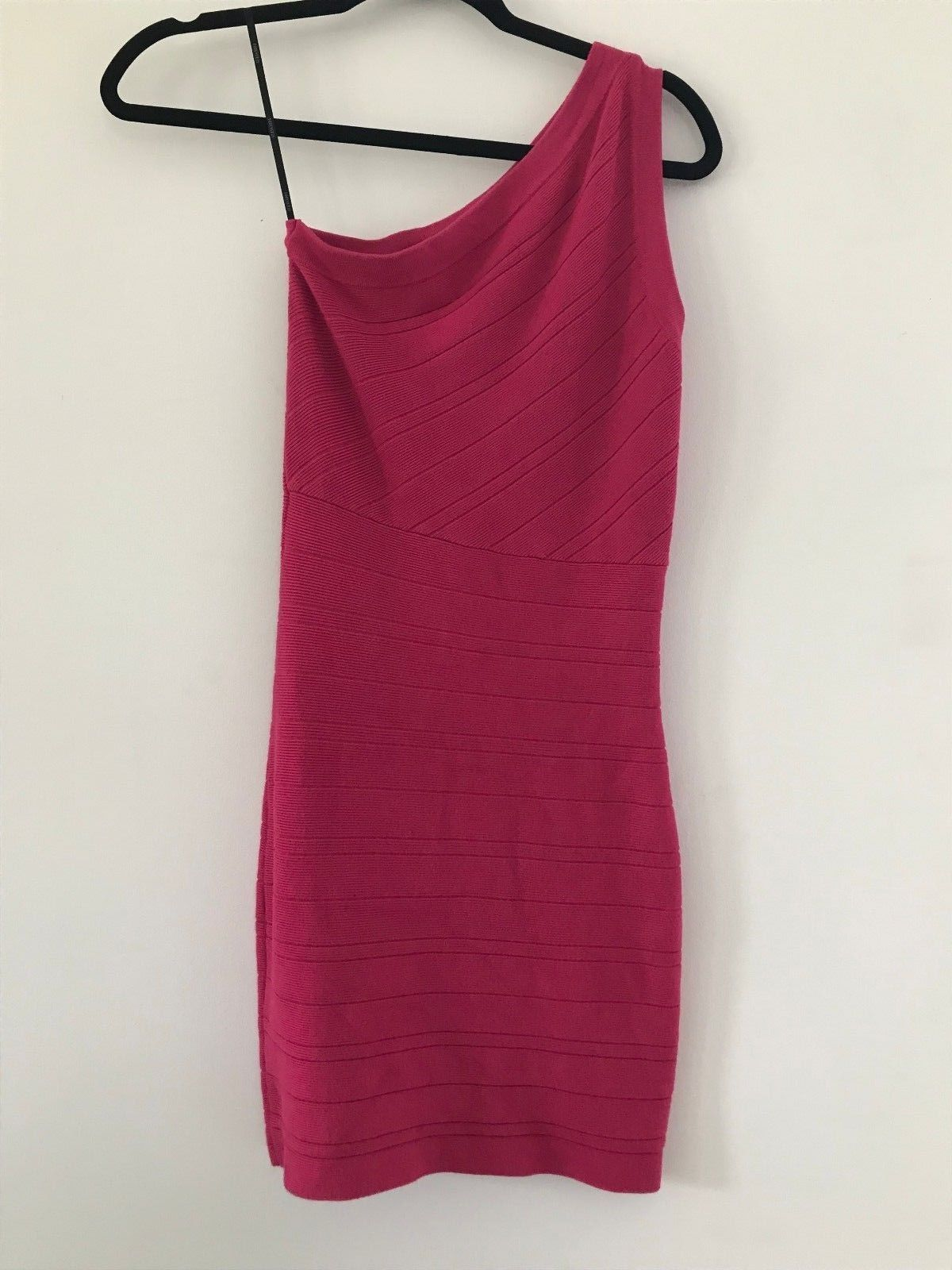 FOREVER 21 Pink Knit Bodycon Dress One Shoulder Size Small - $9.95