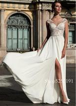 Charming Chiffon Scoop Neckline A-line Wedding Dress With Lace Appliques Front S image 2