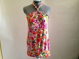 Express Orange and Pink Floral Sleeveless Halter Top with Gold Toned Ring S - $16.40