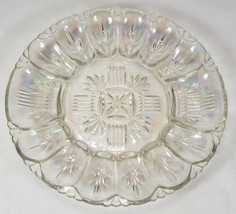 Vintage Iridescent Federal Glass Deviled Egg Plate Georgetown Carnival Glass - $15.99