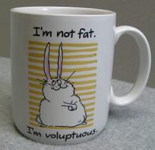 1987 Hallmark Shoebox Greetings Coffee Mug Cup I'm Not Fat Voluptuous Bunny - $13.56