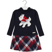 Mayoral Little Girls Angora Blend Scotty Dog Intarsia Knit And Plaid Dress