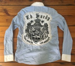 Ed Hardy Club House Los Angeles LA Embroidered Button Down Long Sleeve S... - $20.99
