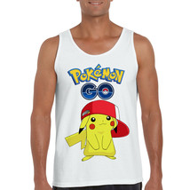 PIKACHU POKEMON GO HAT 3D GRAPHIC MEN'S WHITE TANK TOP 30 - $15.99