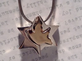 Sterling Silver Judaica Bird Split Pendant Necklace Gold Plated Center Piece
