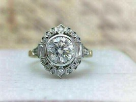 2.70Ct Round Cut VVS1 White Diamond Vintage Engagement Ring in 14K White... - £209.39 GBP
