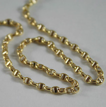 18K YELLOW GOLD CHAIN NECKLACE SAILOR'S OVAL NAVY LINK 15.75 IN. MADE IN ITALY image 1