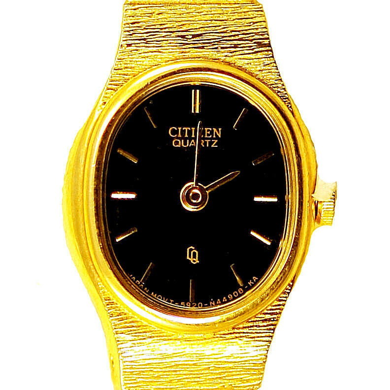 Primary image for Citizen Gold Tone Lady Unworn Black Easy Read Dial S/Steel Quartz Watch Just $79