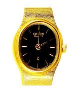 Citizen Gold Tone Lady Unworn Black Easy Read Dial S/Steel Quartz Watch ... - $78.06