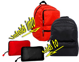 *LOOK!* RED Backpack TRAVEL Folding Convertible Packable Pack Bag Sack E... - $7.08 CAD