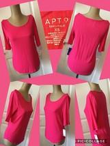 New! APT. 9 Essentials Top Sz X-Small Elbo Sleeves Pink 95% Rayon 5% Spa... - $8.90