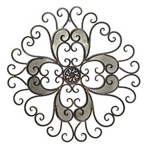 Adeco Rustic Urban Flower Scrolled Design, Metal Wall Decor for Nature Home Art