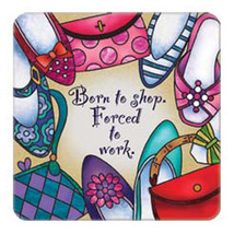 Born To Shop Art Glass Magnet Hand Painted Refrigerator Magnets Decor Ac... - $12.62