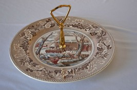 Johnson Bros England Thanksgiving Historic American Frozen Up Tidbit Tray - $29.70