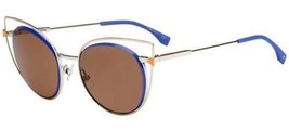 Fendi FF 0176/S Cat Eye Sunglasses 3YGUT Light Gold Blue / Dark Brown Lenses - $148.49