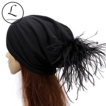 GZhilovingL Cool Soft Cotton Ostrich fur Pompom Slouch Beanies Hats For ... - $18.00