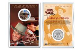 JOHN WAYNE - Americana OFFICIAL JFK Half Dollar U.S. Coin in PREMIUM HOLDER - $10.35