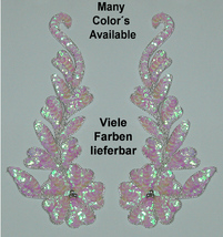 pair appliques sequins applikationen pailletten sew on embroidery handmade ap71 - $9.99