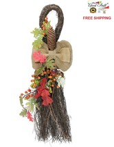 """24"""" Autumn Thanksgiving Harvest Teardrop Swag with Acorns Berries Door D... - $28.49"""