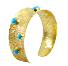 delicate Turquoise Gold Plated Multi Bangle Natural simply US gift - $21.77