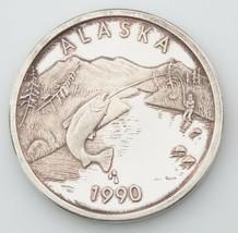 Alaska come Nuovo 1990 Salmone Sport Pesca Medaglione 1 Oncia .999 Argento - $68.38