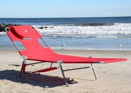 Folding chaise lounge red beach thumb200