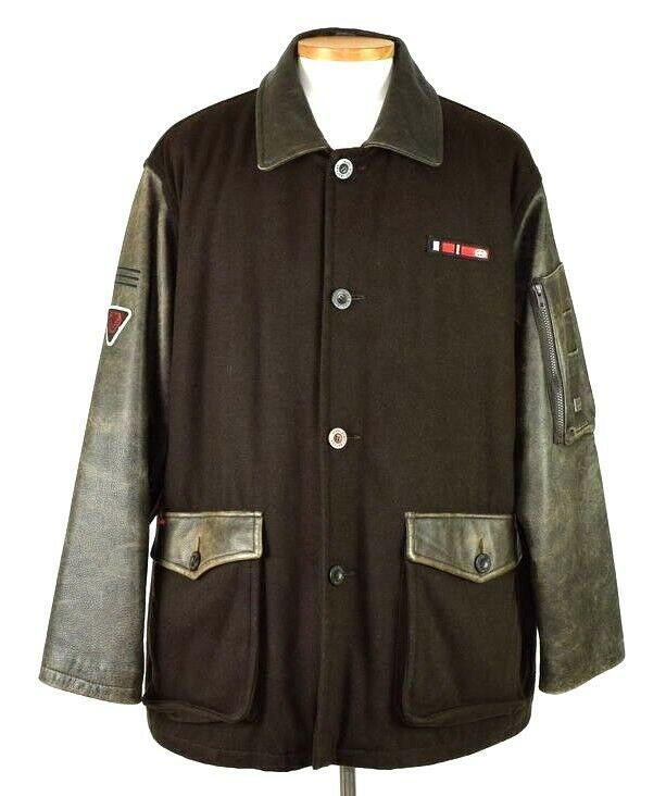 Marc Ecko Leather & Wool Heavy Bomber Jacket Brown Varsity Style Button Mens XL