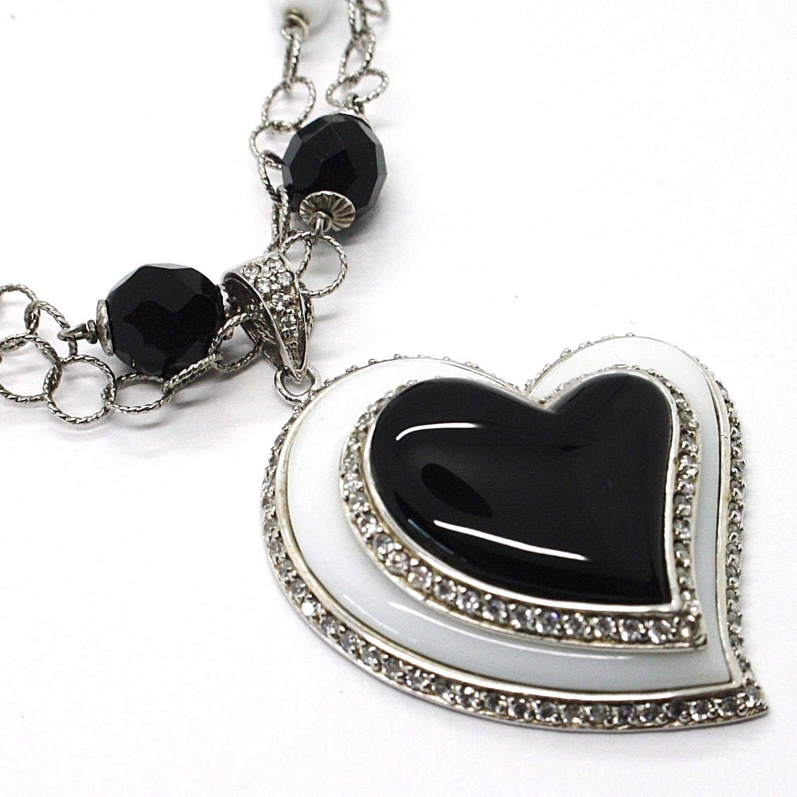 Collar Plata 925 , Ónix Negro, Ágata Blanca, Corazón Colgante, Cadena Dos Filas