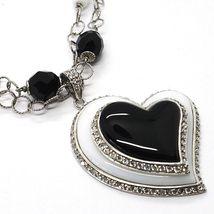 Collar Plata 925 , Ónix Negro, Ágata Blanca, Corazón Colgante, Cadena Dos Filas image 3