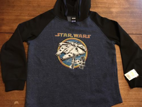 STAR WARS TIE FIGHTER MILLENIUM FALCON Hooded Sweatshirt XL NEW NWT
