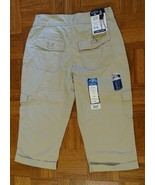 NEW RYDERS LEE SLIMMING TAN KHAKI MID RISE CROPPED PANTS CARGO CAPRI POC... - $9.99