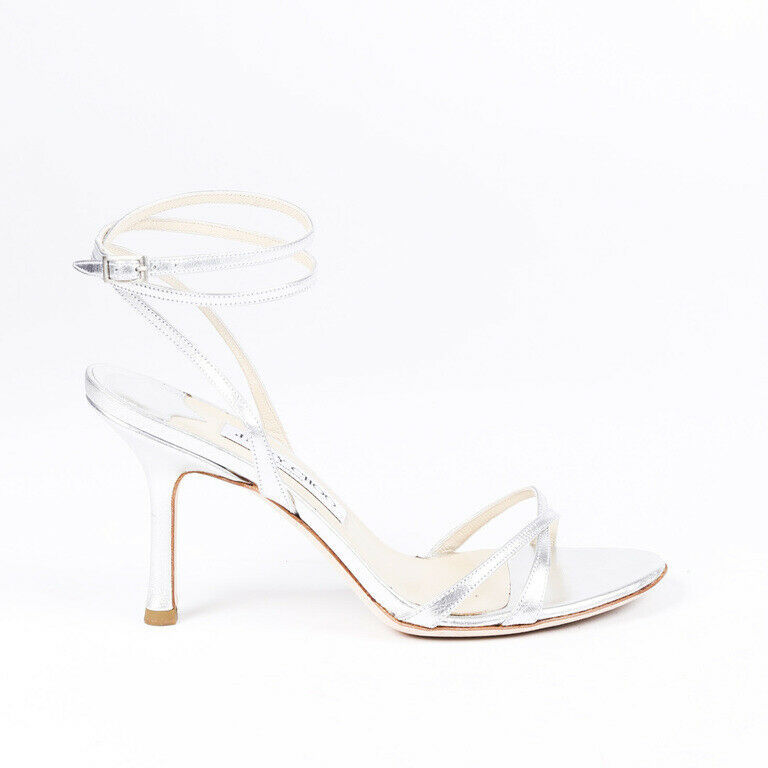 Jimmy Choo Metallic Leather Ankle Strap Sandals SZ 37.5