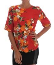 Dolce & Gabbana Orange Print Crystal-Embellished Blouse - $942.76
